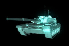 3D Tank Hologram Wireframe in Motion. 3D Rendering Stock Image