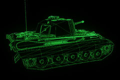 3D Tank Hologram Wireframe in Motion. Nice 3D Rendering Stock Photos