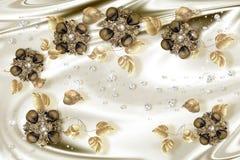 3D tapet, guld- smyckenblommor på siden- bakgrund stock illustrationer