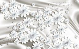 3D tapet, pappers- blommor på grå siden- bakgrund stock illustrationer