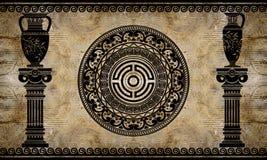 3d tapeta, architektoniczne kolumny i starożytny grek sztuka, Fresku skutek ilustracja wektor