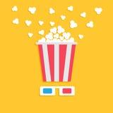 3D tapetują czerwonych błękitnych szkła i dużego strzelać popkornu pudełko Kinowa film nocy ikona w płaskim projekta stylu Żółty  Zdjęcie Royalty Free