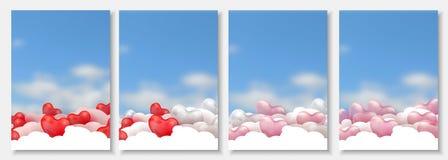 3d tapetują rżniętą ilustrację 3d czerwieni, menchii i bielu balonowi serca na błękitnym tle z chmurami glansowani, wektor Ilustracji