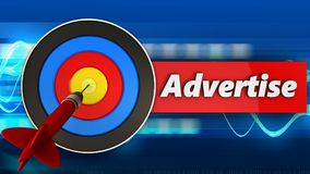 3d target with advertise sign. 3d illustration of target with advertise sign over blue waves background Stock Images
