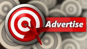 3d target with advertise sign. 3d illustration of target with advertise sign over multiple targets background Royalty Free Stock Photos