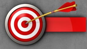 3d target with arrow. 3d illustration of target with arrow over concrete background Stock Photography