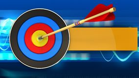 3d target with arrow hit. 3d illustration of target with arrow hit over blue waves background Royalty Free Stock Images