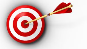 3d target with arrow hit. 3d illustration of target with arrow hit over white background Royalty Free Stock Photo