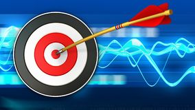 3d target with arrow. 3d illustration of target with arrow over blue waves background Stock Photo