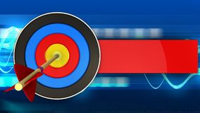 3d target with arrow. 3d illustration of target with arrow over blue waves background Royalty Free Stock Images