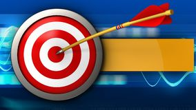 3d target with arrow. 3d illustration of target with arrow over blue waves background Royalty Free Stock Photo