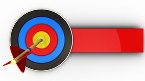 3d target with arrow. 3d illustration of target with arrow over white background Royalty Free Stock Photo
