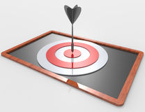 3d target and arrows on blackboard Stock Images
