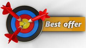 3d target with best offer sign Royalty Free Stock Image