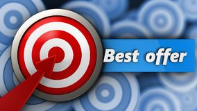 3d target with best offer sign Stock Photography