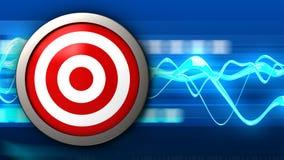 3d target with blank. 3d illustration of target over blue waves background Stock Image
