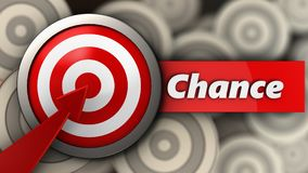 3d target with chance sign. 3d illustration of target with chance sign over multiple targets background Stock Images
