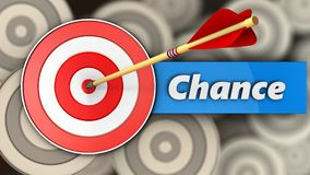 3d target with chance sign. 3d illustration of target with chance sign over multiple targets background Royalty Free Stock Images