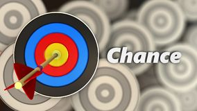3d target with chance sign. 3d illustration of target with chance sign over multiple targets background Royalty Free Stock Image