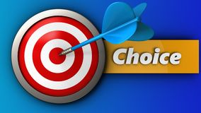3d target with choice. 3d illustration of target with choice over blue background Royalty Free Stock Image