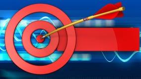 3d target circles with arrow. 3d illustration of target circles with arrow over blue waves background Stock Photos