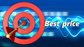 3d target circles with best price sign. 3d illustration of target circles with best price sign over blue waves background Stock Photos