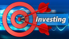 3d target circles with investing sign. 3d illustration of target circles with investing sign over blue waves background Stock Image