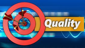 3d target circles with quality. 3d illustration of target circles with quality over blue waves background Royalty Free Stock Image