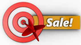 3d target circles with sale. 3d illustration of target circles with sale over white background Stock Photos
