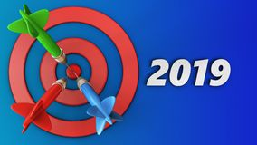 3d target circles with 2019 year sign. 3d illustration of target circles with 2019 year sign over blue background Royalty Free Stock Photos