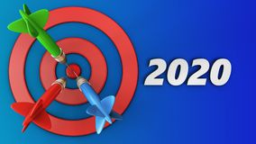 3d target circles with 2020 year sign. 3d illustration of target circles with 2020 year sign over blue background Stock Photo