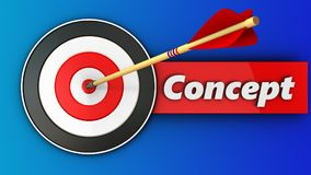 3d target with concept sign. 3d illustration of target with concept sign over blue background Stock Photography