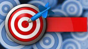 3d target with dart. 3d illustration of target with dart over many targets background Royalty Free Stock Image