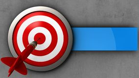 3d target with dart. 3d illustration of target with dart over concrete background Royalty Free Stock Images