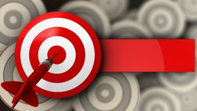 3d target with dart. 3d illustration of target with dart over multiple targets background Royalty Free Stock Photography