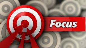 3d target with focus sign. 3d illustration of target with focus sign over multiple targets background Stock Photography