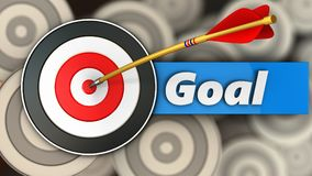 3d target with goal sign. 3d illustration of target with goal sign over multiple targets background Royalty Free Stock Images