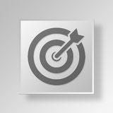 3D Target icon Business Concept. 3D Symbol Gray Square Target icon Business Concept Royalty Free Stock Photos