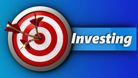 3d target with investing sign. 3d illustration of target with investing sign over blue background Royalty Free Stock Photos