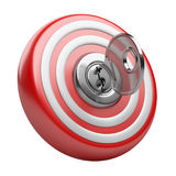 3d target with key in the keyhole. Success concept. Stock Photo