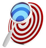 3d target with magnifying glass Royalty Free Stock Photo