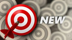 3d target with new sign. 3d illustration of target with new sign over multiple targets background Stock Image