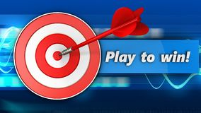 3d target with play to win sign. 3d illustration of target with play to win sign over blue waves background Stock Photography