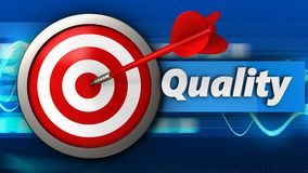 3d target with quality. 3d illustration of target with quality over blue waves background Stock Photography