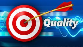 3d target with quality. 3d illustration of target with quality over blue waves background Stock Images