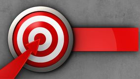 3d target with red arrow. 3d illustration of target with red arrow over concrete background Royalty Free Stock Photography