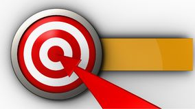 3d target with red arrow. 3d illustration of target with red arrow over white background Stock Photo