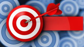 3d target with red dart. 3d illustration of target with red dart over many targets background Royalty Free Stock Photography