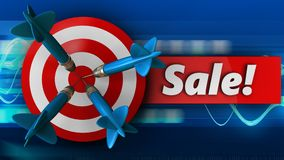3d target with sale. 3d illustration of target with sale over blue waves background Stock Photography