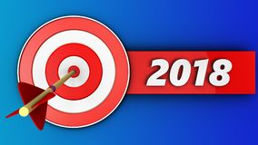 3d target with 2018 sign. 3d illustration of target with 2018 sign over blue background Stock Photography